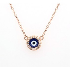 14kt Rose Gold Diamond Evil Eye Necklace