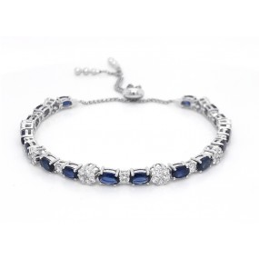 18kt White Gold Diamond And Sapphire Bracelet