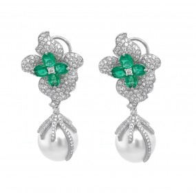 18kt White Gold Diamond, Emerald And Pearl Earrings