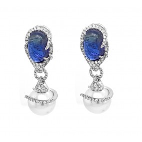 18kt White Gold Diamond, Tanzanite And Pearl Dangling Earrings