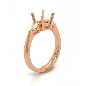 18kt Rose Gold Diamond Semi Mount