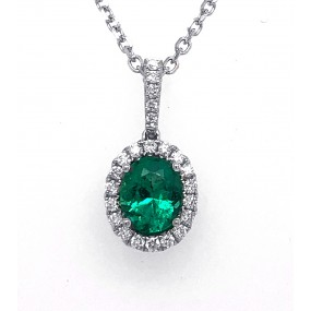 18kt White Gold Diamond and Emerald Pendant