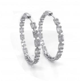18kt White Gold Diamond Hoops