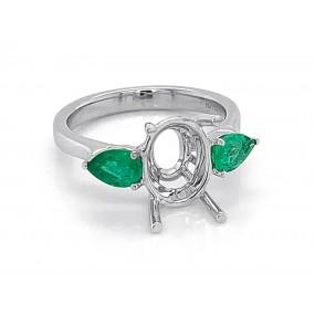 18kt White Gold Emerald Semi Mount