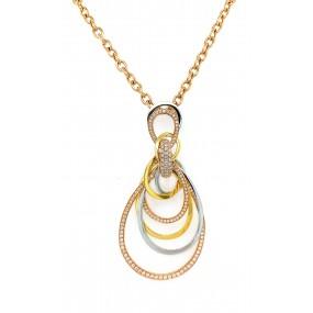 18kt Tri Color Gold Diamond Pendant