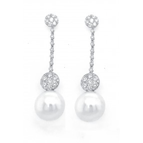 18kt White Gold Diamond and Pearl Earrings