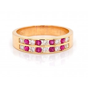 14kt Yellow Gold Diamond And Ruby Band