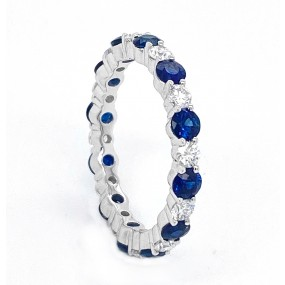 18kt White Gold Diamond and Sapphire Band