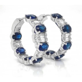 18kt White Gold Diamond and Sapphire Hoops