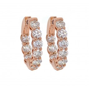 18kt Rose Gold Diamond Hoops
