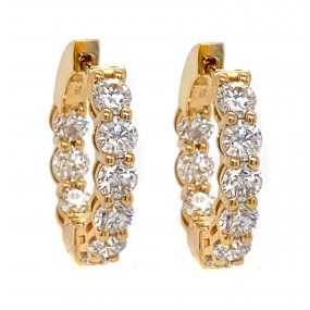18kt Yellow Gold Diamond Hoops