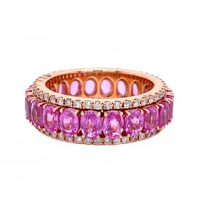 18kt Rose Gold Diamond And Sapphire Band