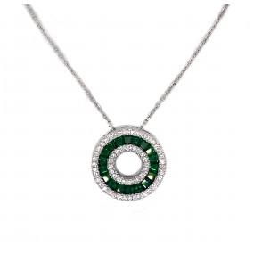 18kt White Gold Diamond and Tsavorite Pendant