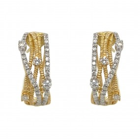 18kt White And Yellow Gold Diamond Earring
