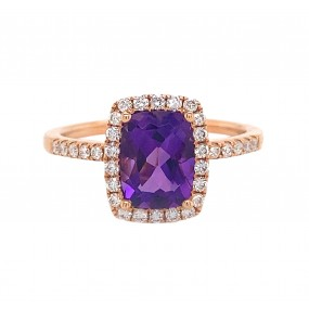 18kt Rose Gold Diamond And Amethyst Ring
