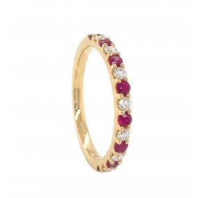18kt Yellow Gold Diamond And Ruby Band