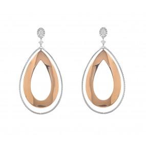 18kt White And Rose Gold Diamond Earring