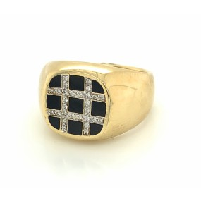 14kt Yellow Gold Diamond Men's Ring