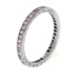 18kt White Gold Pink Sapphire Band