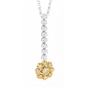 18kt White And Rose Gold Diamond Dangling Flower Pendant