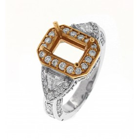 14kt White And Rose Gold Diamond Semi Mount