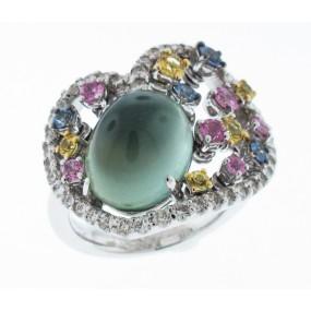 18kt White Gold Multi Color Stone Prehnite Ring