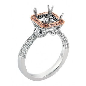 18kt Two Tone Diamond Semi Mount