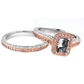 18kt Two Tone Diamond Halo Semi Mount