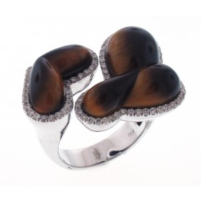 18kt White Gold Tiger Eye Ring