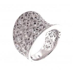 18kt White Gold Diamond Wide Ring