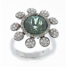 18kt White Gold Tourmaline Flower Ring